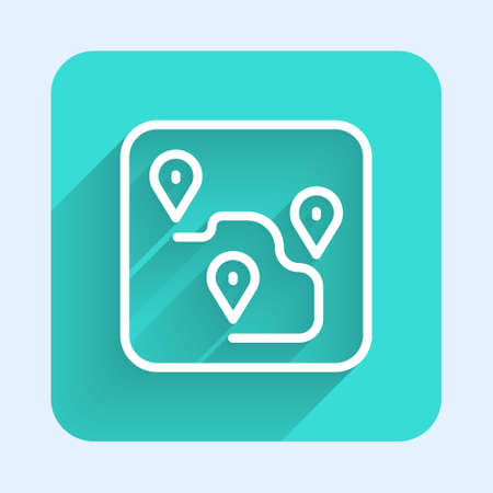 White line Route location icon isolated with long shadow. Map pointer sign. Concept of path or road. GPS navigator. Green square button. Vector Çizim