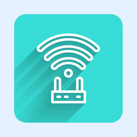 White line Router and wifi signal icon isolated with long shadow. Wireless modem router. Computer technology internet. Green square button. Vector