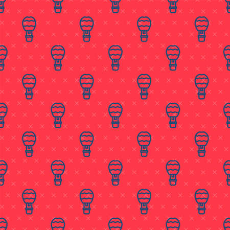Blue line Hot air balloon icon isolated seamless pattern on red background. Air transport for travel. Vector
