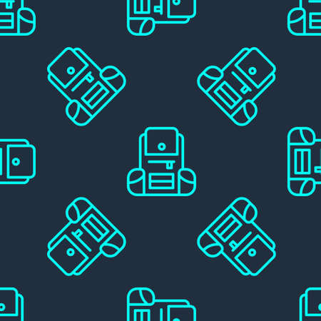Green line Hiking backpack icon isolated seamless pattern on blue background. Camping and mountain exploring backpack. Vector