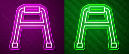 Glowing neon line Walker for disabled person icon isolated on purple and green background. Vector