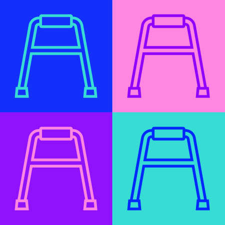 Pop art line Walker for disabled person icon isolated on color background. Vector Ilustracja