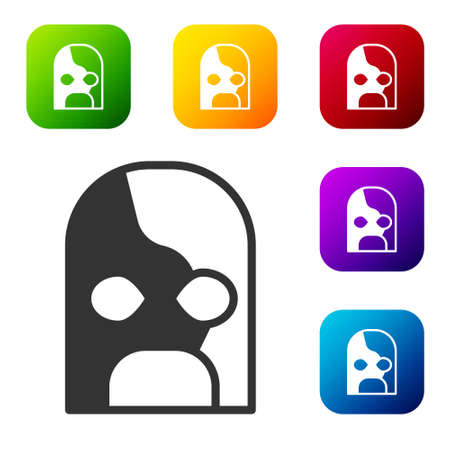 Black Mexican wrestler icon isolated on white background. Set icons in color square buttons. Vector Ilustração Vetorial