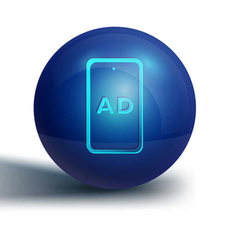 Blue Advertising icon isolated on white background. Concept of marketing and promotion process. Responsive ads. Social media advertising. Blue circle button. Vector Ilustracja