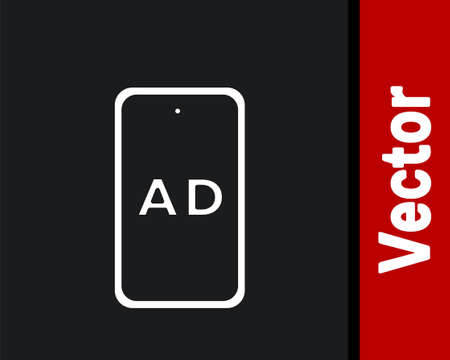 White Advertising icon isolated on black background. Concept of marketing and promotion process. Responsive ads. Social media advertising. Vector Ilustracja