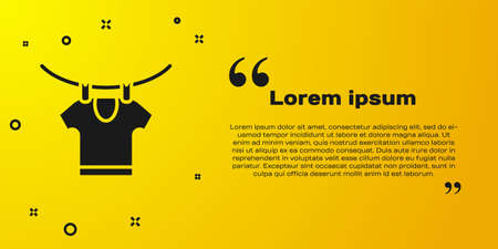 Black Drying clothes icon isolated on yellow background. Clean shirt. Wash clothes on a rope with clothespins. Clothing care and tidiness. Vector