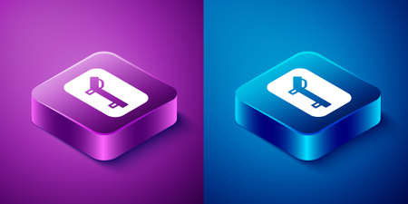 Isometric Sunbed icon isolated on blue and purple background. Sun lounger. Square button. Vector