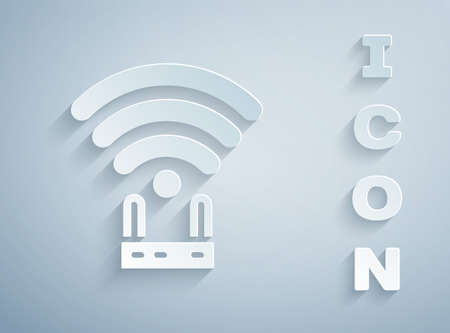 Paper cut Router and wifi signal icon isolated on grey background. Wireless internet modem router. Computer technology internet. Paper art style. Vector Ilustracja