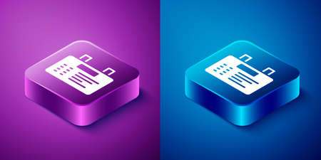 Isometric Airport board icon isolated on blue and purple background. Mechanical scoreboard. Info of flight on the billboard in the airport. Square button. Vector Ilustracja