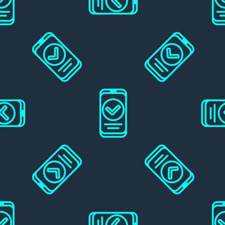 Green line Smartphone, mobile phone icon isolated seamless pattern on blue background. Vector