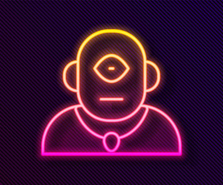 Glowing neon line Cyclops icon isolated on black background. Vector