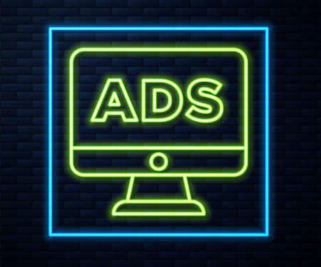 Glowing neon line Advertising icon isolated on brick wall background. Concept of marketing and promotion process. Responsive ads. Social media advertising. Vector Ilustracja