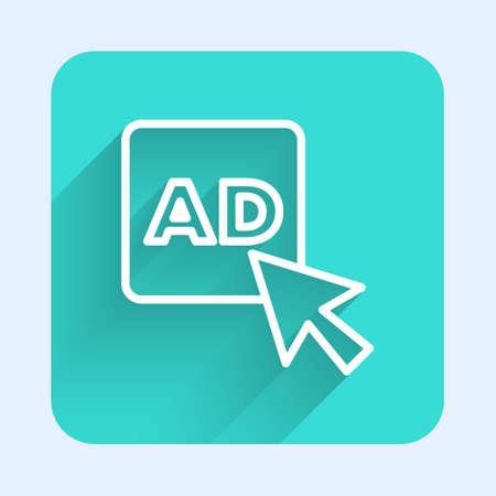 White line Advertising icon isolated with long shadow. Concept of marketing and promotion process. Responsive ads. Social media advertising. Green square button. Vector Ilustracja