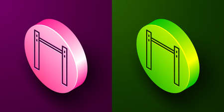 Isometric line Sport horizontal bar icon isolated on purple and green background. Circle button. Vector