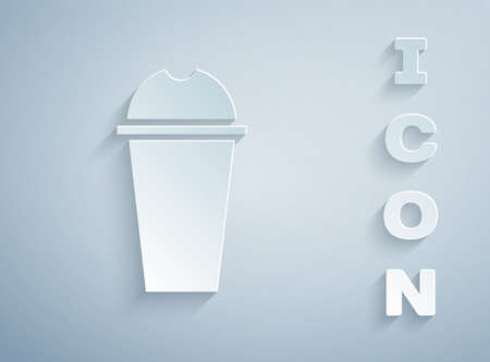 Paper cut Milkshake icon isolated on grey background. Plastic cup with lid and straw. Paper art style. Vector Illustration