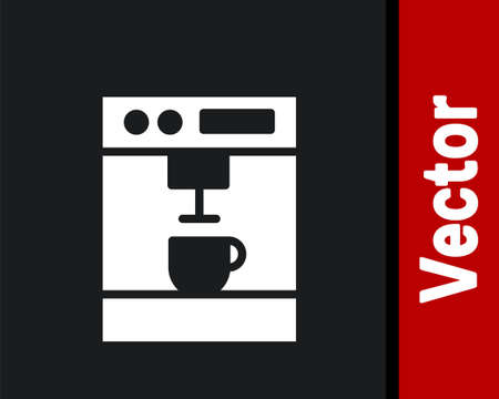 White Coffee machine icon isolated on black background. Vector Illustration Vettoriali