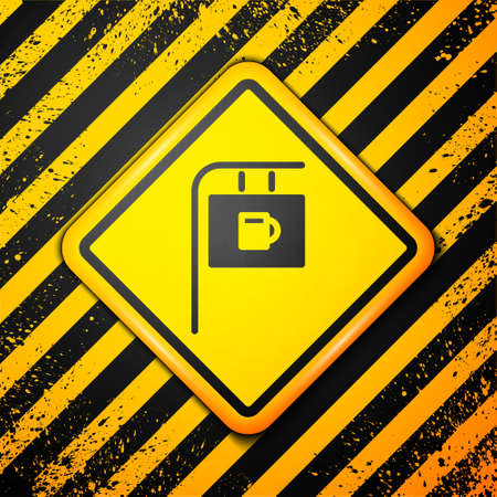 Black Street signboard with inscription Bar icon isolated on yellow background. Suitable for advertisements bar, cafe, restaurant. Warning sign. Vector Illustration