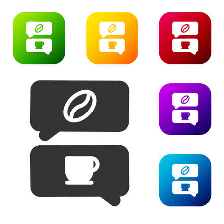 Black Coffee and conversation icon isolated on white background. Coffee talk. Speech bubbles chat. Set icons in color square buttons. Vector Illustration