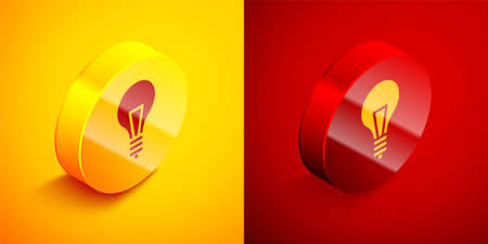 Isometric Light bulb with concept of idea icon isolated on orange and red background. Energy and idea symbol. Inspiration concept. Circle button. Vector Illustration