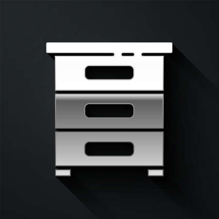 Silver Drawer with documents icon isolated on black background. Archive papers drawer. File Cabinet Drawer. Office furniture. Long shadow style. Vector Illustration Çizim