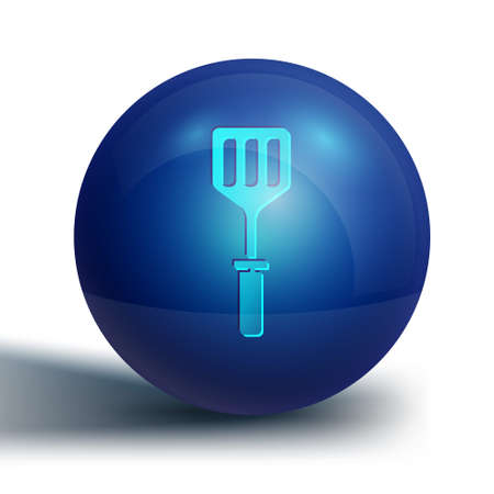 Blue Spatula icon isolated on white background. Kitchen spatula icon. BBQ spatula sign. Barbecue and grill tool. Blue circle button. Vector Illustration