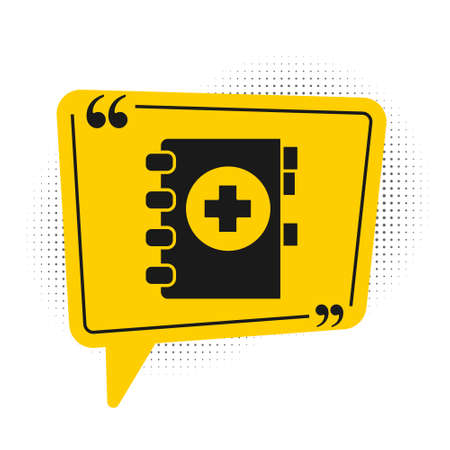 Black Medical clipboard with clinical record icon isolated on white background. Prescription, medical check marks report. Yellow speech bubble symbol. Vector Illustration  イラスト・ベクター素材