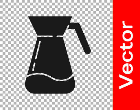 Black Jug glass with water icon isolated on transparent background. Kettle for water. Glass decanter with drinking water. Vector Illustration Çizim
