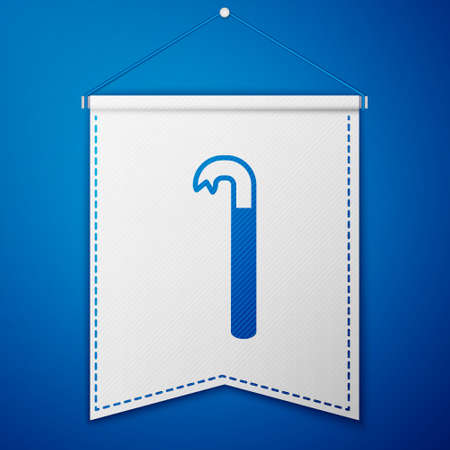 Blue Crowbar icon isolated on blue background. White pennant template. Vector Illustration