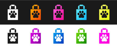 Set Shopping bag pet icon isolated on black and white background. Pet shop online. Animal clinic. Vector