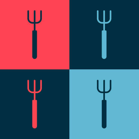 Pop art Garden pitchfork icon isolated on color background. Garden fork sign. Tool for horticulture, agriculture, farming. Vector Çizim