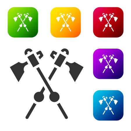 Black Crossed medieval axes icon isolated on white background. Battle axe, executioner axe. Medieval weapon. Set icons in color square buttons. Vector Çizim