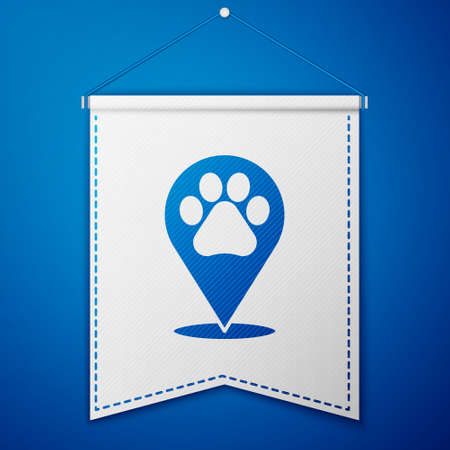 Blue Map pointer with veterinary medicine hospital, clinic or pet shop for animals icon isolated on blue background. Vet or veterinarian clinic. White pennant template. Vector