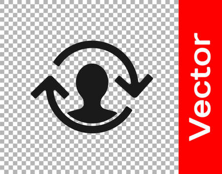 Black Human resources icon isolated on transparent background. Concept of human resources management, professional staff research, head hunter job. Vector