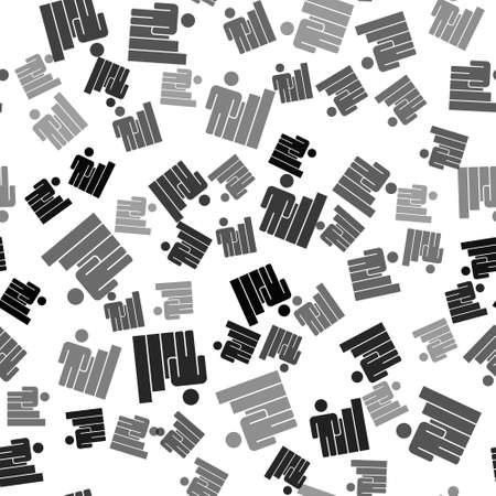 Black Productive human icon isolated seamless pattern on white background. Idea work, success, productivity, vision and efficiency concept. Vector Ilustração