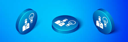 Isometric Human with lamp bulb icon isolated on blue background. Concept of idea. Blue circle button. Vector Ilustração