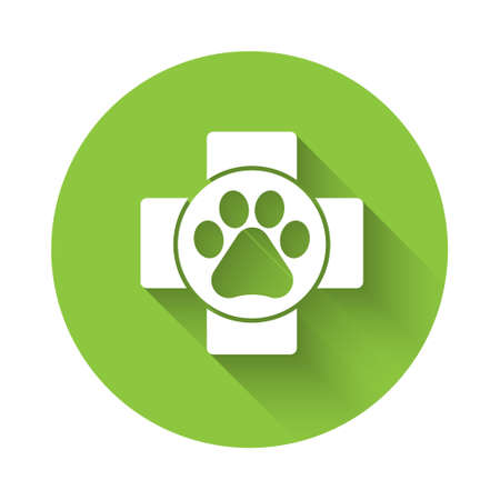 White Veterinary clinic symbol icon isolated with long shadow. Cross hospital sign. A stylized paw print dog or cat. Pet First Aid sign. Green circle button. Vector