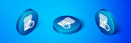 Isometric Dog medicine bottle icon isolated on blue background. Container with pills. Prescription medicine for animal. Blue circle button. Vector