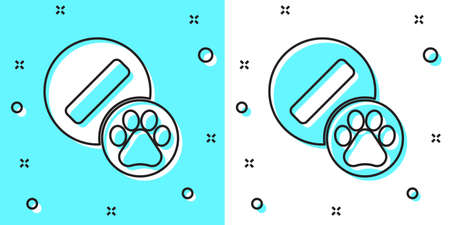 Black line Dog pill icon isolated on green and white background. Prescription medicine for animal. Random dynamic shapes. Vector  イラスト・ベクター素材