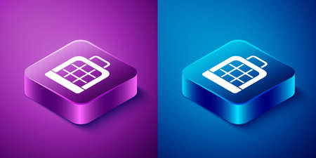 Isometric Pet carry case icon isolated on blue and purple background. Carrier for animals, dog and cat. Container for animals. Animal transport box. Square button. Vector Çizim