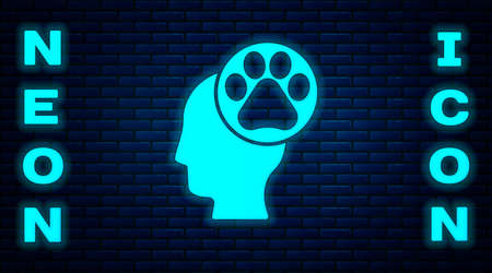 Glowing neon Human head with animals footprint icon isolated on brick wall background. Pet paw in heart. Love to the animals. Vector