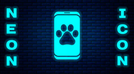 Glowing neon Veterinary clinic symbol icon isolated on brick wall background. Cross hospital sign. A stylized paw print dog or cat. Pet First Aid sign. Vector
