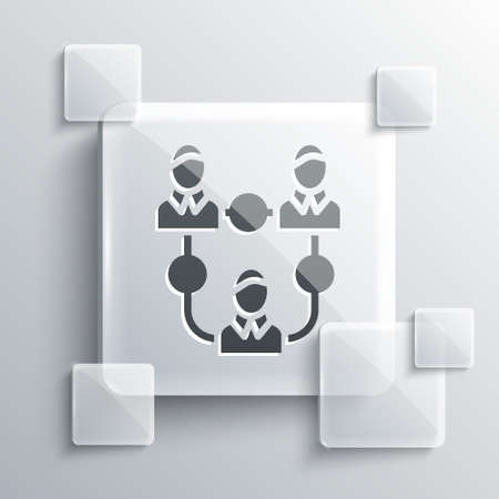 Grey Project team base icon isolated on grey background. Business analysis and planning, consulting, team work, project management. Square glass panels. Vector