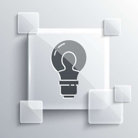 Grey Human head with lamp bulb icon isolated on grey background. Square glass panels. Vector Ilustração