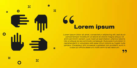 Black Project team base icon isolated on yellow background. Business analysis and planning, consulting, team work, project management. Developers. Vector