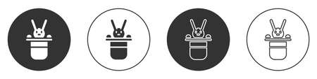 Black Magician hat and rabbit icon isolated on white background. Magic trick. Mystery entertainment concept. Circle button. Vector Ilustração