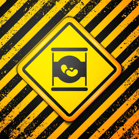 Black Beans in can icon isolated on yellow background. Warning sign. Vector
