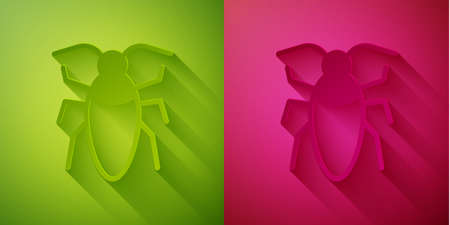 Paper cut Cockroach icon isolated on green and pink background. Paper art style. Vector