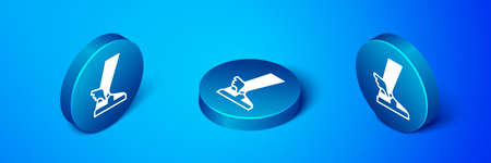 Isometric greek sandal icon isolated on blue background. Ancient greek god. Running shoe with wings. Blue circle button. Vector Illustration