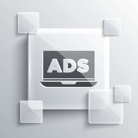 Grey Advertising icon isolated on grey background. Concept of marketing and promotion process. Responsive ads. Social media advertising. Square glass panels. Vector