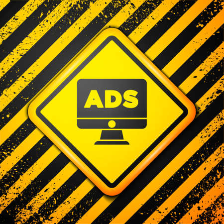 Black Advertising icon isolated on yellow background. Concept of marketing and promotion process. Responsive ads. Social media advertising. Warning sign. Vector